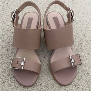 Topshop leather double buckle sandals